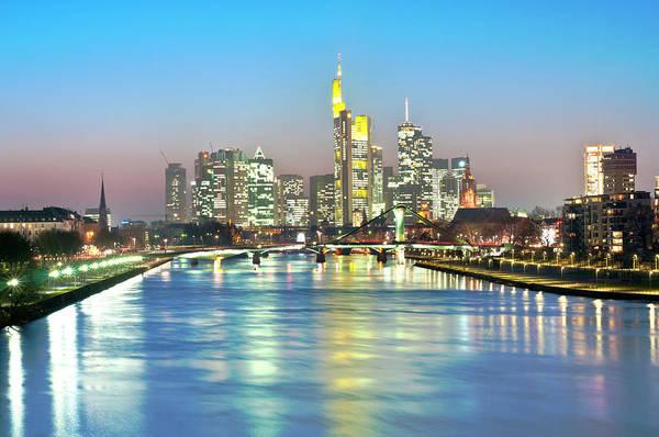 Hesse Art Print featuring the photograph Frankfurt Night Skyline by Ixefra