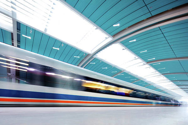 Aerodynamic Art Print featuring the photograph Futuristic Train by Nikada