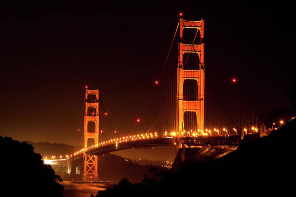 Scenics Art Print featuring the photograph Golden Gate Bridge At Night by Imaginegolf