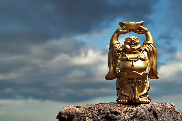 Chinese Culture Art Print featuring the photograph Golden Prosperity Buddha by Wesvandinter
