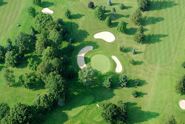 Sand Trap Art Print featuring the photograph Golf Course Close Up From The Air by Groveb