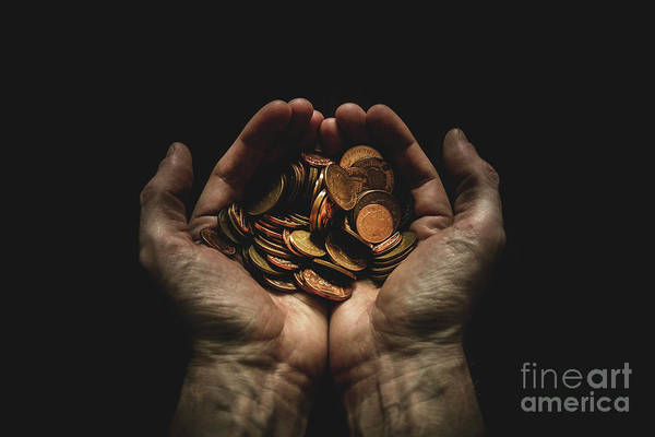 Coin Art Print featuring the photograph Hands Holding Coins Against Black by Andy Kirby