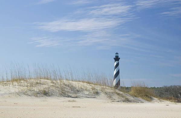 North Carolina Art Print featuring the photograph Hatteras Lighthouse And The Dunes by Myhrcat
