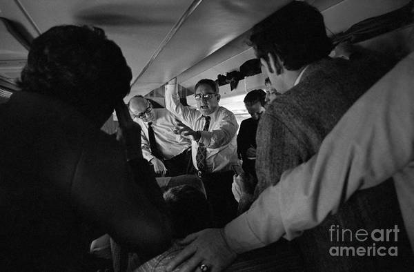Event Art Print featuring the photograph Henry Kissinger Talking With Journalists by Bettmann