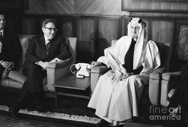 People Art Print featuring the photograph Henry Kissinger With King Faisal by Bettmann