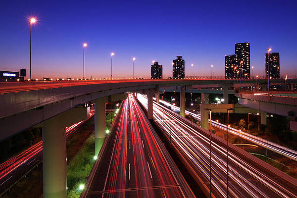 Two Lane Highway Art Print featuring the photograph Highway At Night by Takuya Igarashi