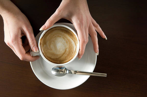 Spoon Art Print featuring the photograph Holding Cappuccino by 1001nights