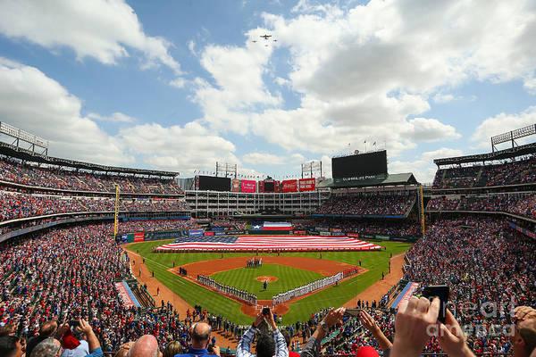 American League Baseball Art Print featuring the photograph Houston Astros V Texas Rangers by Richard Rodriguez