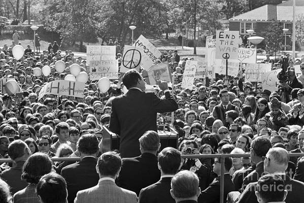 Crowd Of People Art Print featuring the photograph Hubert Humphrey Speaking To Crowd by Bettmann
