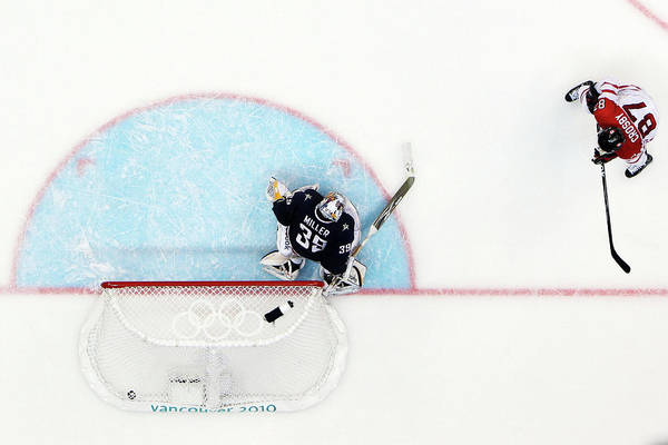 Ryan Miller Art Print featuring the photograph Ice Hockey - Mens Gold Medal Game - Day by Bruce Bennett