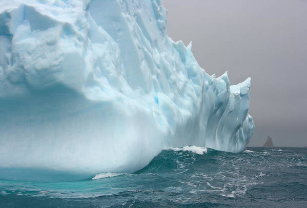 Scenics Art Print featuring the photograph Iceberg And Sea Waves, South Georgia by Eastcott Momatiuk
