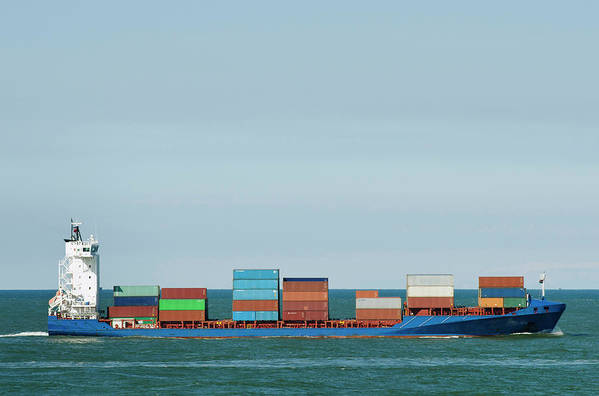 Freight Transportation Art Print featuring the photograph Industrial Barge Carrying Containers by Mischa Keijser