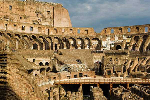 Arch Art Print featuring the photograph Interior Of The Colosseum, Rome, Italy by Juan Silva