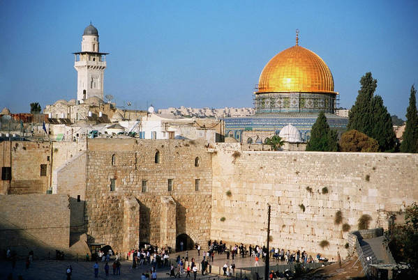 Dome Of The Rock Art Print featuring the photograph Israel, Jerusalem, Western Wall And The by Medioimages/photodisc