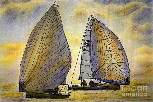 Sail Art Print featuring the painting J-70's in the Sunset by Randy Sprout
