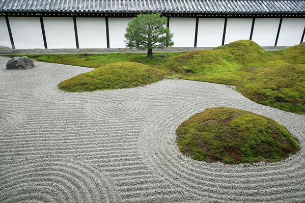 Japan Kyoto Hojoteien Zen Garden Art Print By Kaz Chiba