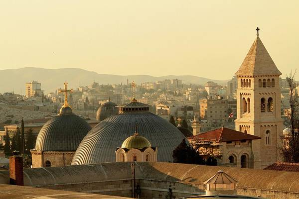 West Bank Art Print featuring the photograph Jerusalem Churches On The Skyline by Picturejohn
