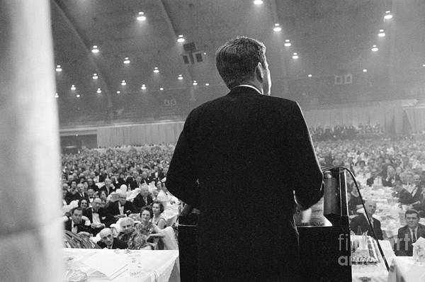 People Art Print featuring the photograph Jfk Speaking At Democratic Fund Raiser by Bettmann