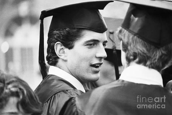 1980-1989 Art Print featuring the photograph John F. Kennedy Jr. At Graduation by Bettmann