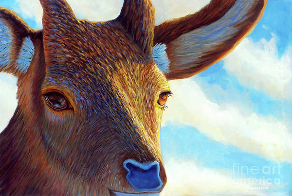 Deer Art Print featuring the painting Johnny On The Spot by Brian Commerford