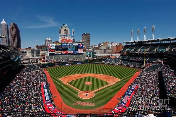 American League Baseball Art Print featuring the photograph Kansas City Royals V Cleveland Indians by Joe Robbins