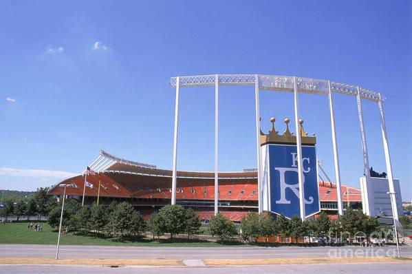 American League Baseball Art Print featuring the photograph Kauffman Stadium by Stephen Dunn