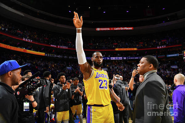 Thank You Art Print featuring the photograph Kobe Bryant And Lebron James by Jesse D. Garrabrant