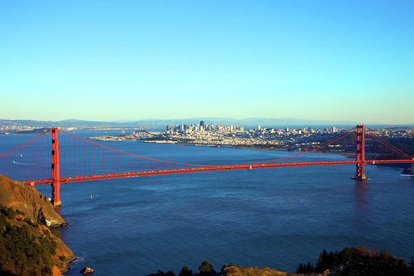 Downtown District Art Print featuring the photograph Looking Down At The San Francisco Bridge by Ekash