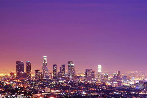 Clear Sky Art Print featuring the photograph Los Angeles At Dusk by Dj Murdok Photos