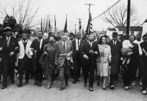 Marching Art Print featuring the photograph Luther King Marches by William Lovelace