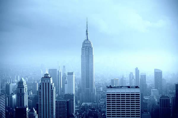 Lower Manhattan Art Print featuring the photograph Manhattan Skyline In The Fog, Nyc. Blue by Lisa-blue
