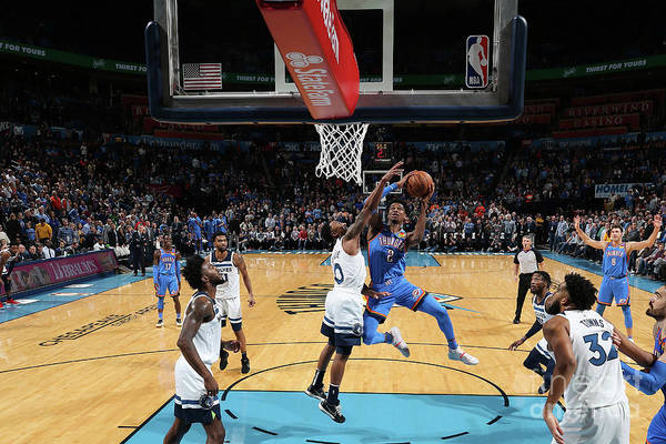 Nba Pro Basketball Art Print featuring the photograph Minnesota Timberwolves V Oklahoma City by Zach Beeker