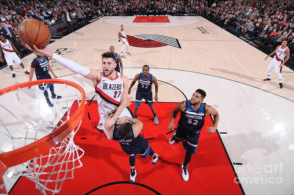 Jusuf Nurkić Art Print featuring the photograph Minnesota Timberwolves V Portland Trail by Sam Forencich
