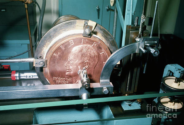 Coin Art Print featuring the photograph Minting Of Eisenhower Dollar Coin by Bettmann