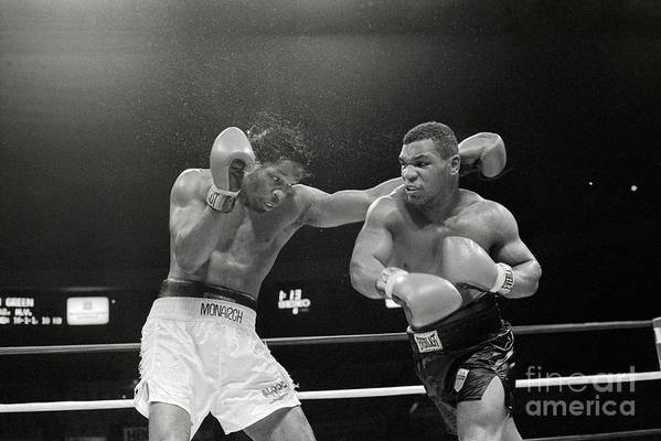 1980-1989 Art Print featuring the photograph Mitch Green Recoils From Mike Tysons by Bettmann