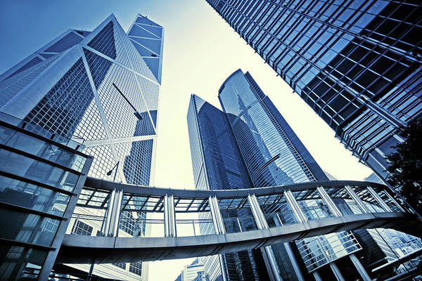 Corporate Business Art Print featuring the photograph Modern Office Buildings by Nikada