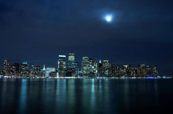 Lower Manhattan Art Print featuring the photograph Moon Light Over New York City by Brandonj74