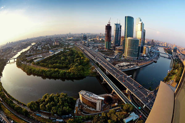 Industrial District Art Print featuring the photograph Moscow Skyline. Aerial View. Fisheye by Mordolff