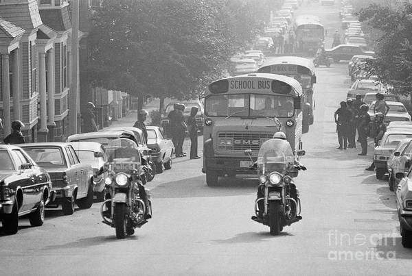 Education Art Print featuring the photograph Motorcycle Police Escort School Bus by Bettmann
