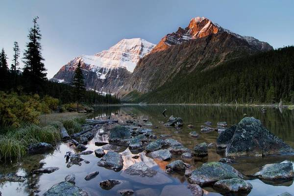 Scenics Art Print featuring the photograph Mount Edith Cavell And Cavell Lake by Design Pics/philippe Widling