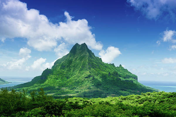 Scenics Art Print featuring the photograph Mount Roto Nui Volcanic Mountain Moorea by Mlenny