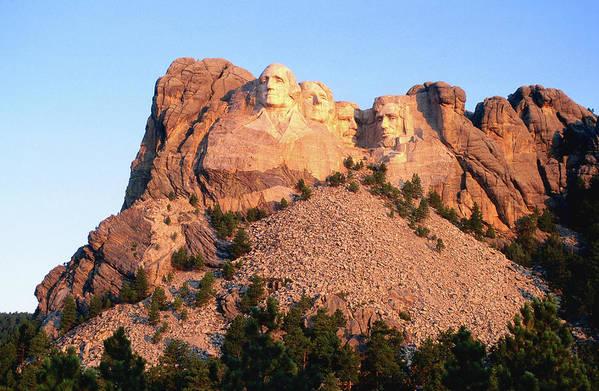 Mt Rushmore National Monument Art Print featuring the photograph Mt Rushmore Memorial Carvings by John Elk