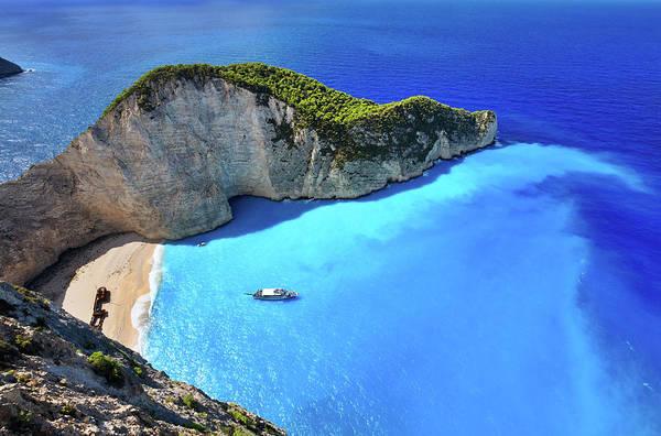 Extreme Terrain Art Print featuring the photograph Navagio Beach, Zakynthos Island, Greece by Rusm