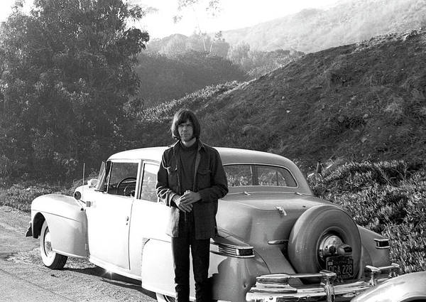 Singer Art Print featuring the photograph Neil Young And His Classic Car by Michael Ochs Archives