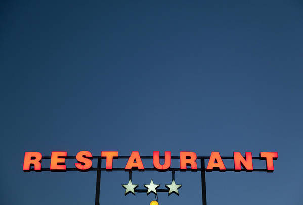 Temptation Art Print featuring the photograph Neon 3 Star Restaurant Sign by Henglein And Steets