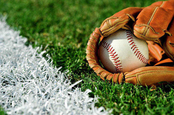 Grass Art Print featuring the photograph New Baseball In Glove Along Foul Line by Cmannphoto