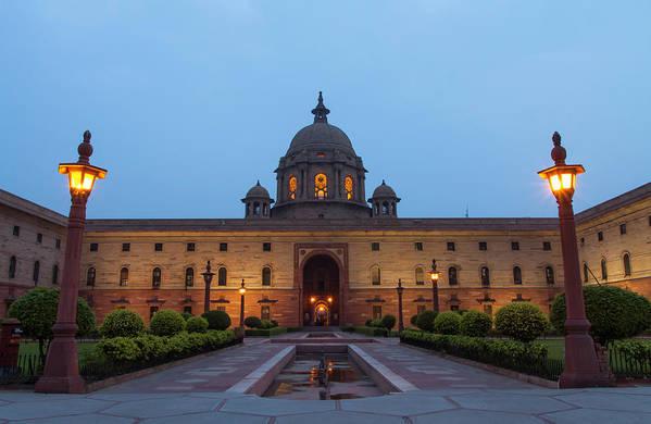 New Delhi Art Print featuring the photograph New Delhi President House At Night by Prognone