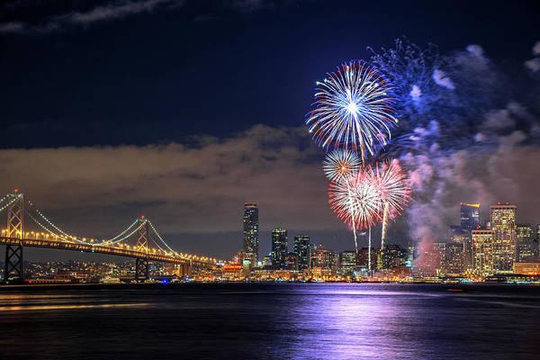 Firework Display Art Print featuring the photograph New Year Fireworks by Piriya Photography