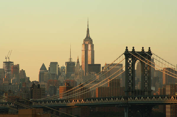 Suspension Bridge Art Print featuring the photograph New York City Cityscape Sunrise by Cribbvisuals