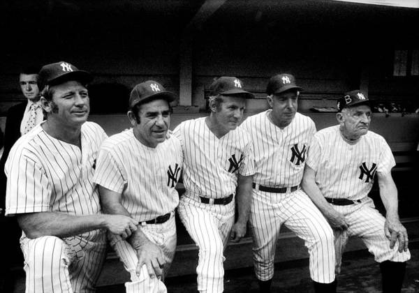 American League Baseball Art Print featuring the photograph New York Yankees Hall Of Famers At Old by New York Daily News Archive